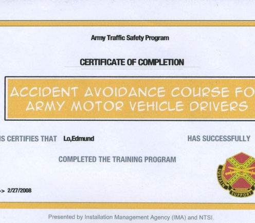 Army accident avoidance course