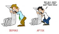 Articulate Rapid E-Learning Blog - before and after versions of customized free clip art for elearning