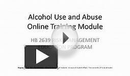Alcohol Use and Abuse Online Training Module