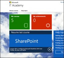 You will be taken to your Microsoft IT Academy homepage. From here you can browse and take courses,  search for courses,  access help topics,  resume your most recent class,  and more.